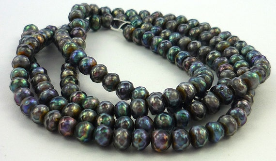 Faceted peacock pearl rondelle beads 5.5mm 1/2 strand