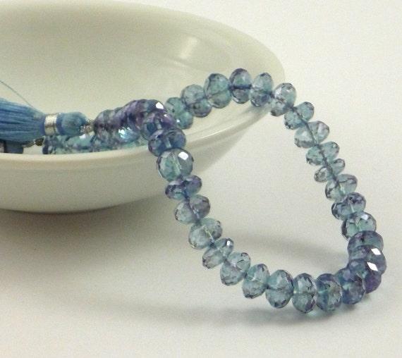 Pretty mystic blue quartz faceted rondelle beads 7.5-8mm set of 6