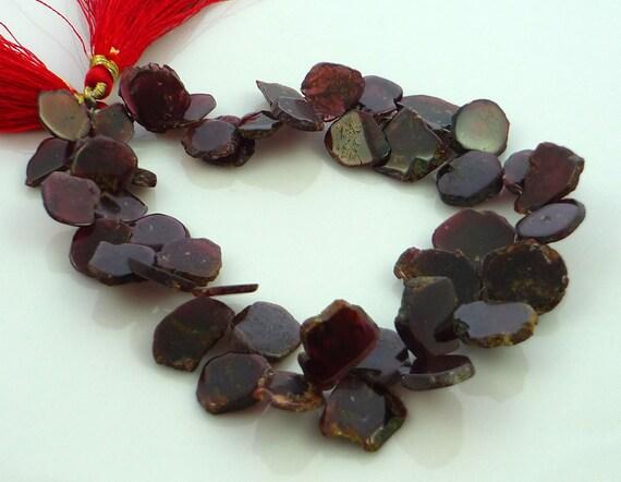 Rustic garnet slice briolette beads 9-15mm 1/2 strand