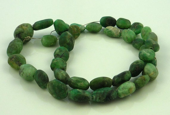 Rough emerald nugget pebble beads 10-12mm 1/2 strand