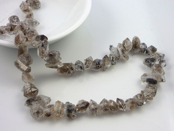 Awsome Herkimer Diamond Pointed Nugget Beads 9-14mm 1/4 strand