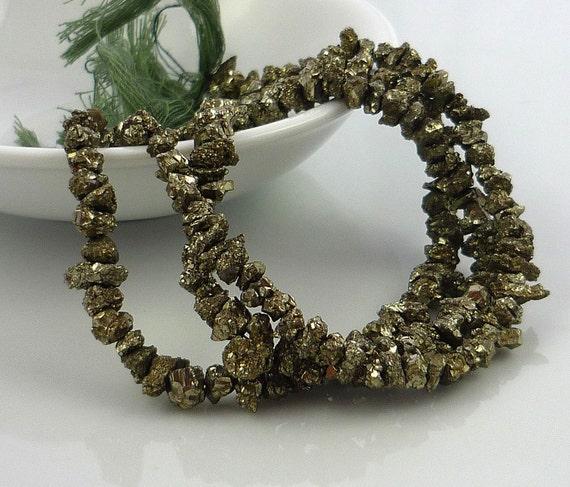 Awsome pyrite druzy nuggets 4-6mm 1/2 strand