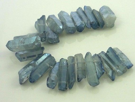 Mystic blue/ grey  aura quartz pointer briolettes/nugget beads 20-35mm 1/4 strand