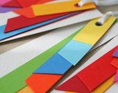 colourful gift tags - set of 6 - A rainbow colour tags multicolour geometric long present tags
