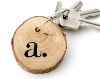 Choose your initial...Keychain made with  wood and cable steel wire with your monogrammed hand painted keyring