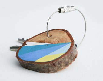 wood keychain with stainless steel cable wire option for custom initial keyring, blue and yellow geometric triangle shapes