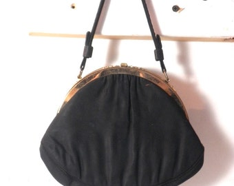 Vintage 1940' Small Black Purse with Decorative Brass Tone Frame
