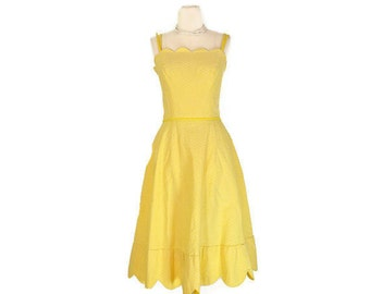 Vintage 1950's PAT PREMO California Sunny Yellow Sun Dress / Day Dress