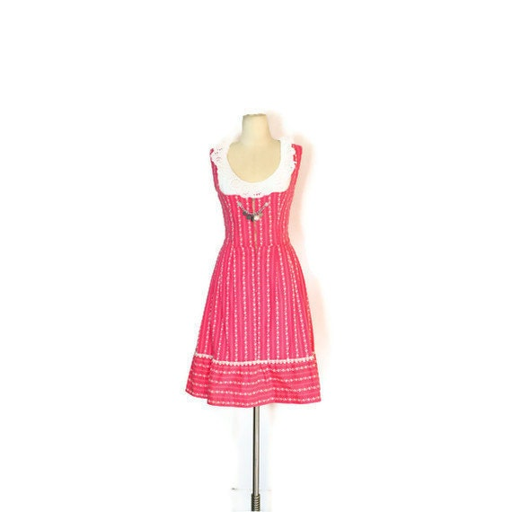 Authentic Vintage Dirndl Dress // Pink and White Pure Cotton Floral Stripes // Non-Iron German DIRNDL