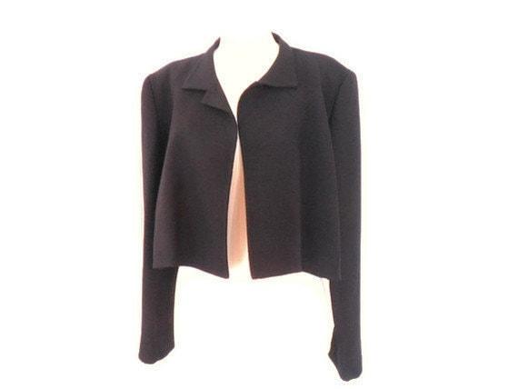 Vintage PAULINE TRIGERE Black Wool Cropped Swing Coat