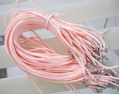 30pcs 16-18 inch adjustable 2.5x1.5mm salmon suede leather necklace cords with lobster clasps and 2 inch extender