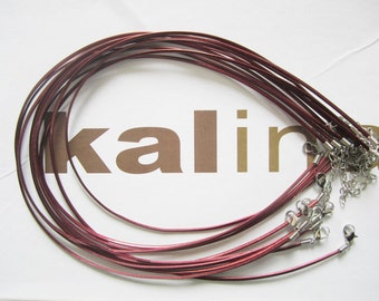 tiny small finish --30pcs 16-18 inch adjustable 2.5x1.5mm maroon flat PU leather  necklace cords with lobster clasps and 2 inch extender