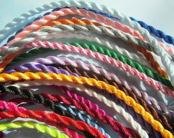 50pcs 18-20 inch  3mm assorted(20 colors) satin twist necklace cords with matching ball and hole connectors