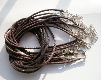 tiny small finish --100pcs 16-18 inch adjustable 2mm brown cotton necklace cords with lobster clasps and 2 inch extender