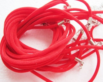 30pcs 16-18 inch adjustable 2mm red velvet necklace cords with lobster clasps and 2 inch extender