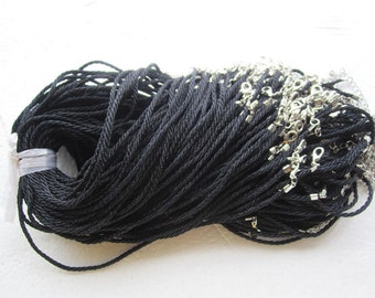 30pcs 17-19 inch braided black satin twist necklace cords with lobster clasps and extender