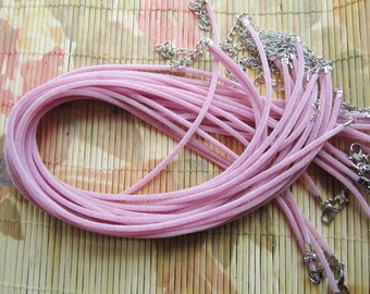 30pcs 16-18 inch adjustable 2mm pink velvet necklace cords with lobster clasps and 2 inch extender