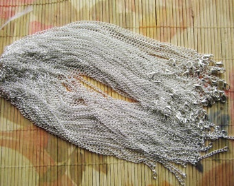 very strong 50pcs 16 inch silver plated cable necklace chains with lobster clasps