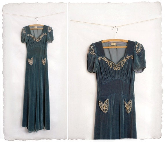 1930s velvet bias cut gown with beaded detail
