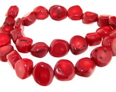 """One Strand 13mm-15MM Red Coral Gemstone Beads  16"""""""