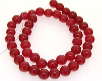 Round Red Jade  Beads Gemstsone Strand 9mm