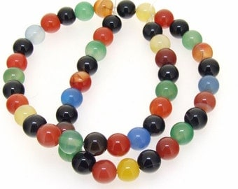 One Strand Round Multicoloured Agate Gemstone Beads 8mm
