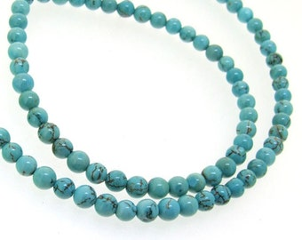 4mm Round Turquoise Gemstone Beads 16inch