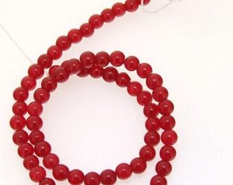 Round Red Jade Gemstone Beads 6mm One Strand