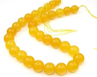 Round Yellow Jade Gemstone Beads 12mm