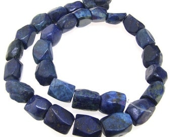 Nugget Faceted Lapis 12mm-15mm Gemstone Beads Strand