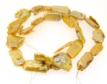 Big 10x20mm Yellow Freshwater Pearl Gemstone Beads Strand
