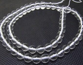 6mm Round Clear Crystal Quartz Gemstone Beads One Strand