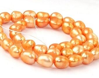 Orange Rice Cultured Pearl Gemstone Beads 7mm-10mm Strand 16inch