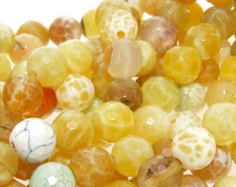 Newest Faceted Yellow Agate Gemstone  Beads Strand 8mm