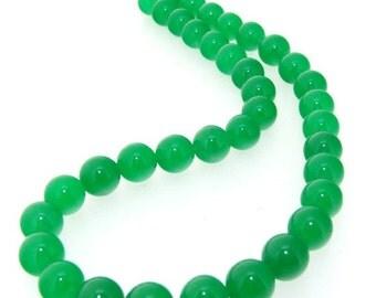 Green Jade Round Beads Gemstsone One Strand 10mm