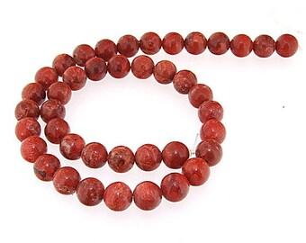 Round Red Sponge Coral Gemstone Beads Strand  10mm