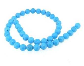 Round Blue Turquoise Gemstone 10mm Strand 16inch