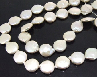 """Coin Freshwater Cultured Pearl Beads Gemstone 10mm Strand 14"""""""