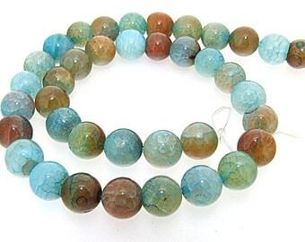 Blue Green Agate Round 10mm Gemstone Beads One strand
