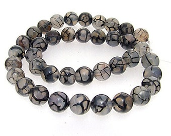 Dragon Black Agate Round 10mm Gemstone Beads