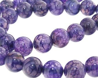 Purple Dragon Agate Round Beads Gemstsone Strand 10mm