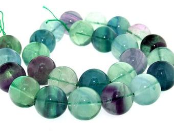 Rond  Rainbow Big Fluorite Quartz Stone Gemstone one Strand 12mm