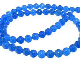 Charm Blue Jade Round Beads Gemstone One Strand 6mm 15.5""