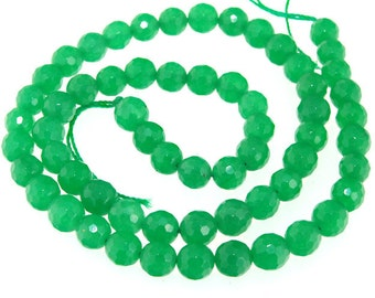 Faceted Green Jade 6mm Round Gemstone Beads Strand 15""