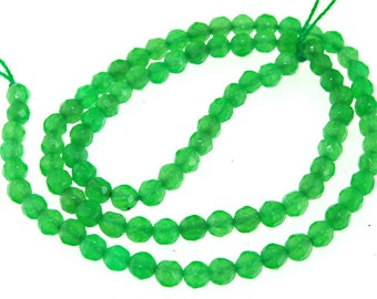 Faceted Green Jade 4mm Round Gemstone Beads Strand 15""