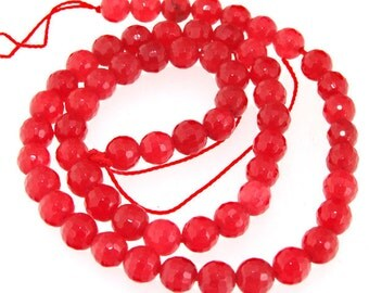 Faceted Red Jade 6mm Round Gemstone Beads Strand 15""