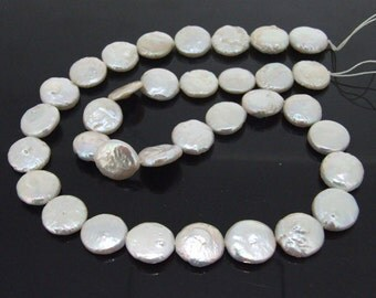 Coin 11mm  Freshwater Cultured Pearl Beads Gemstone Strand