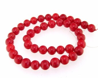 """Charm Round Red Coral 8mm Gemstone Beads One Strand 15"""""""