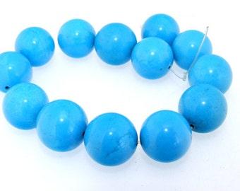 "Round Big Blue Turquoise 19mm Gemstone 13Beads One Strand 9"""