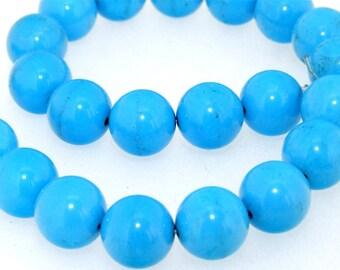"Round Blue Turquoise Gemstone One Strand 24Beads 14mm 13"""